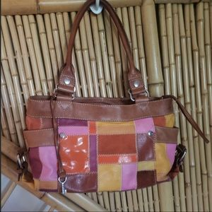 EUC Fossil Leather Patchwork Purse